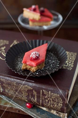 Cranberry Curd Bar with Walnut Shortbread Crust