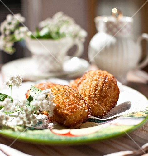 Apple and Honey Madeleines on a Plate in the Sunshine