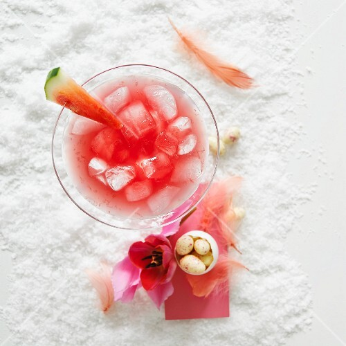 A watermelon and vodka cocktail on ice for Easter