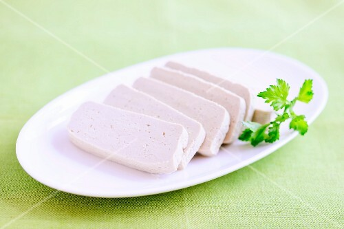 Plain tofu, sliced