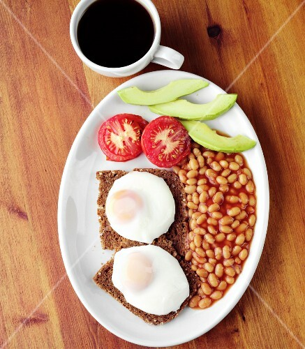 Fried Eggs on Toast and Baked Beans for Breakfast