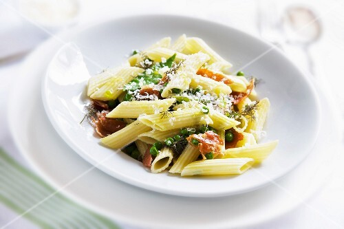 Penne with Parma Ham, petit pois, fennel and Pecorino cheese