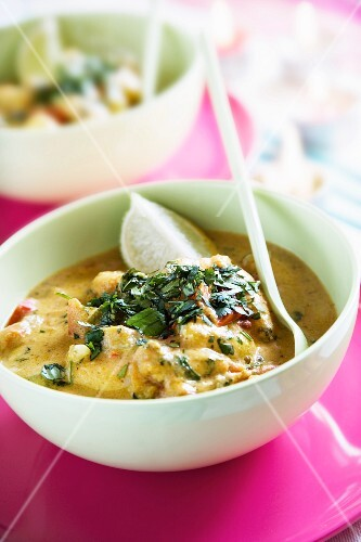 Thai Green Curry with Prawns, Scallop, Mussels and Fish fillets
