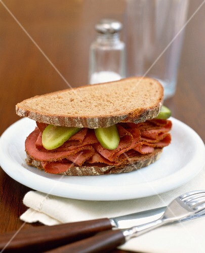 Pickle and Pastrami Sandwich