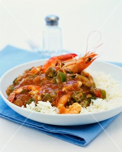 Jambalaya with king prawns