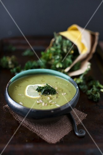 A Bowl of Celeriac and Spinach Soup with Kale Chips