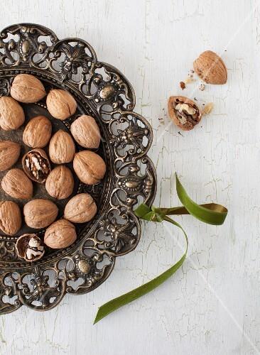 Walnuts on a Metal Tray