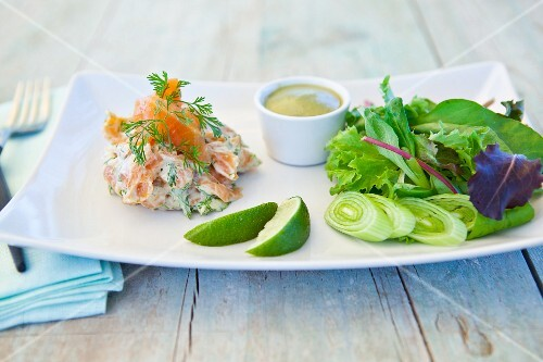 Salmon salad with wasabi and lettuce