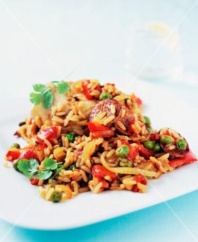 Jambalaya with chicken and chorizo