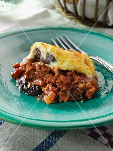 A single serving of moussaka editorial food