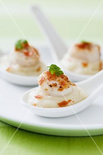 Sautéed scallops on cauliflower purée