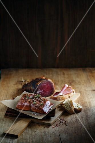 Smoked salmon fillet and smoked ham