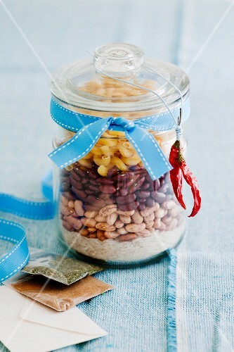 Mexican bean soup mix in a glass storage container