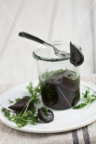 Pickled black garlic