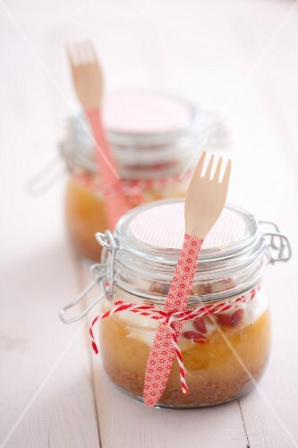 Apple cake in a jar as a gift