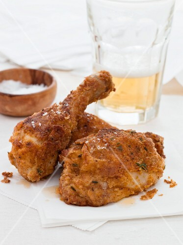 Breaded chicken legs with salt and beer
