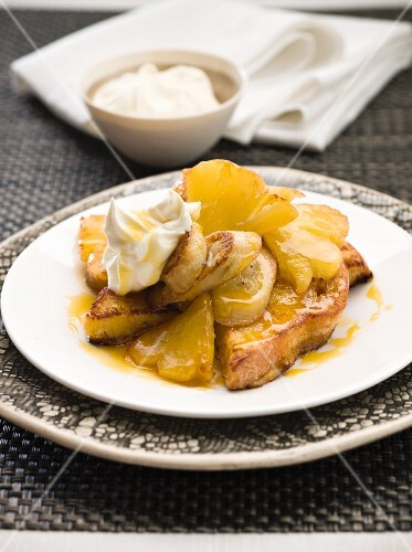 French toast with pineapple and cream