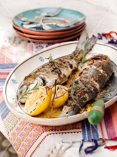 Grilled trout with rosemary and lemon