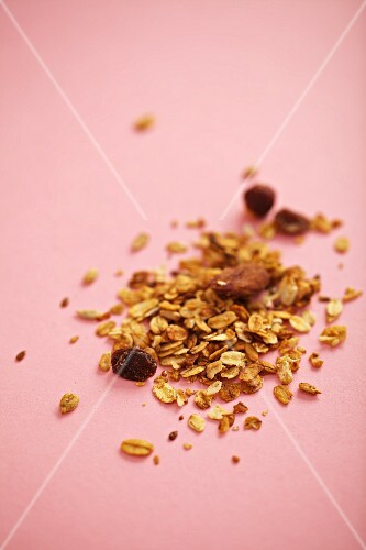 Breakfast cereal against a pink background