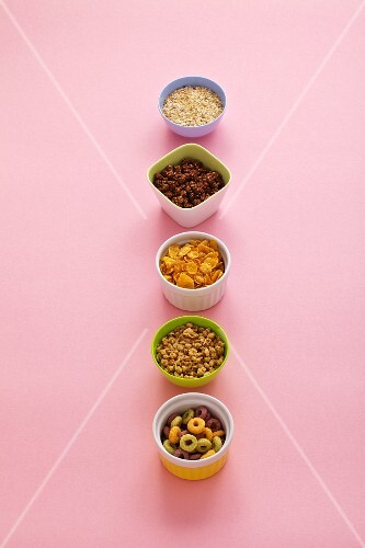 Assorted bowls of breakfast cereal