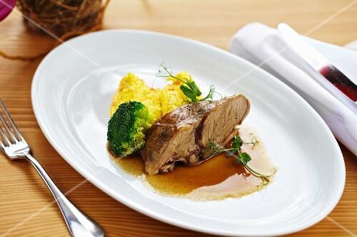 Pot-roast shoulder of lamb with polenta