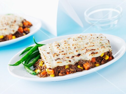 Shepherd's pie (minced meat casserole topped with mashed potato, England)