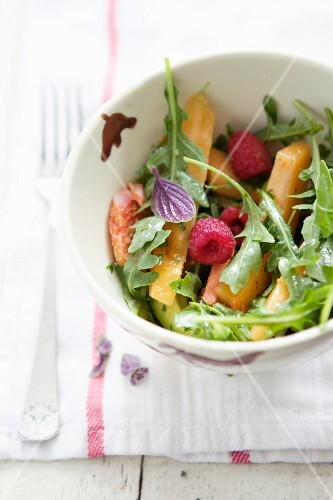 A Summer Salad with Cantaloupe and Raspberries