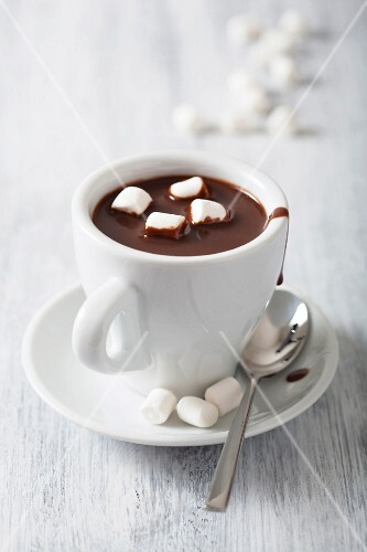 A cup of hot chocolate with mini marshmallows