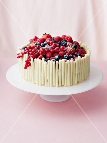 Cream cake with mixed berries