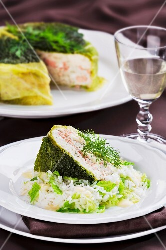 Salmon 'tart' encased in savoy cabbage, served with rice