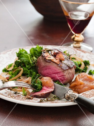 Venison with Quince and greens