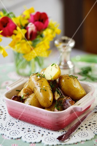 A dish of new potatoes