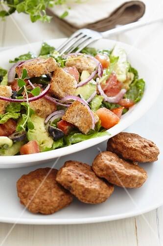 Frikadellen (German burgers) with bread salad