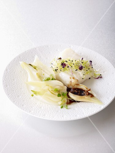 Cod with fennel, sprouts and coffee sauce