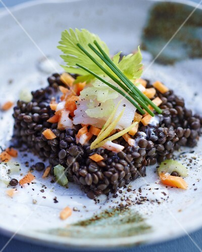 Lentil salad with carrots and smoked halibut