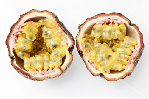 Purple passion fruit, halved