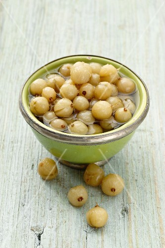 Preserved gooseberries in a bowl