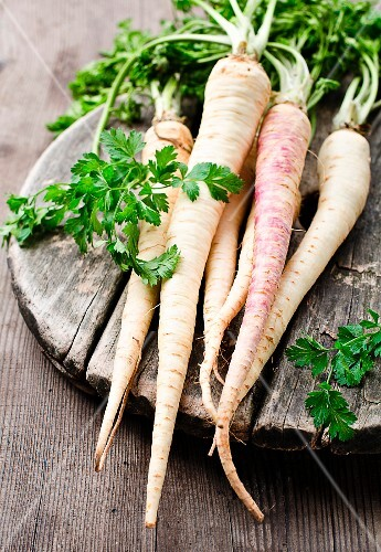 Parsley roots with leaves