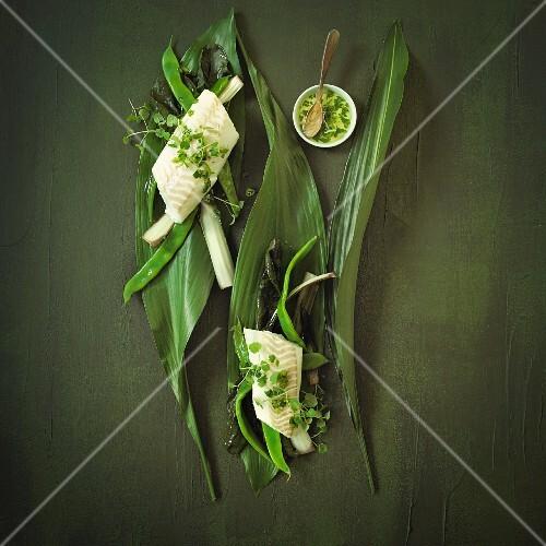 Fischfilet mit Pak Choi und grünen Bohnen