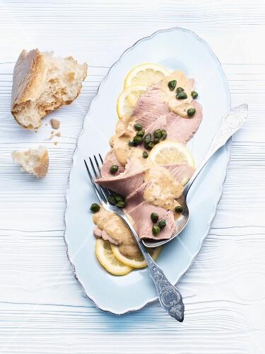 Vitello tonnato (veal with a tuna and caper sauce)