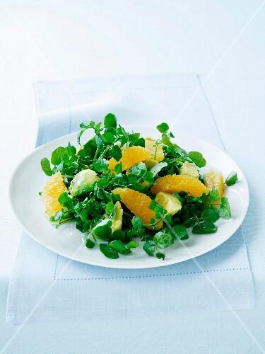 Watercress, avocado and orange salad