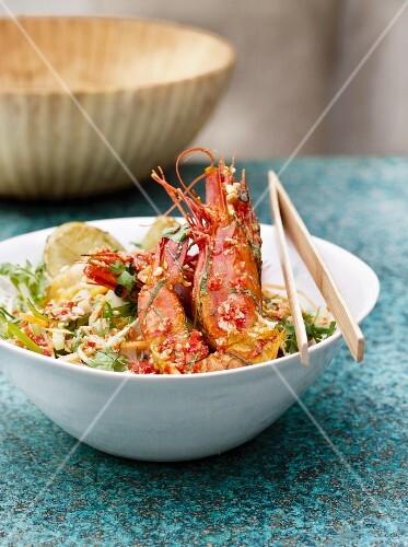 Bun xao (noodle dish, Vietnam) with prawns
