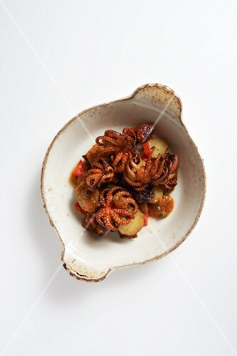 Marinated Baby Octopus and Spicy Potatoes in a Tapas Dish