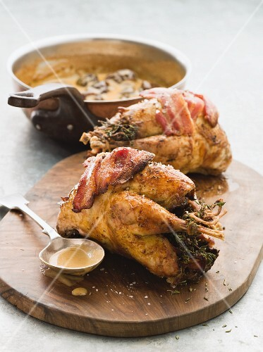 Roast pheasant with bacon