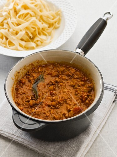 Bolognese sauce and ribbon pasta