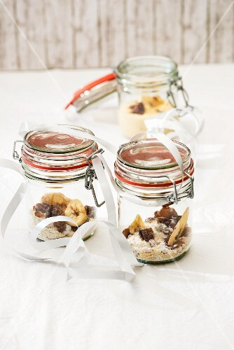 Couscous with dried fruit (dry mix and prepared) in jars