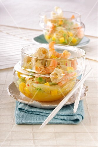 Cellophane noodle salad with vegetables and prawns