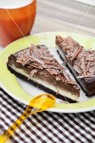 Chocolate tart with milk chocolate curls