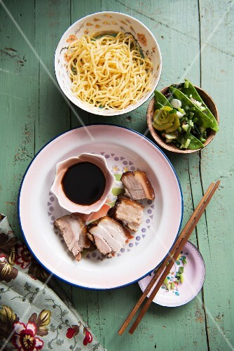 Pork with soy sauce, vegetables and noodles
