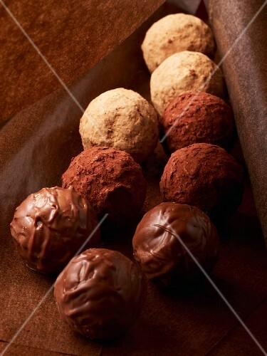Chocolate truffles, close-up